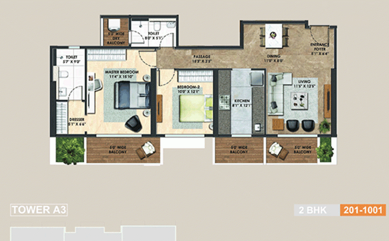Adani-alteer-2BHK-FloorPlan
