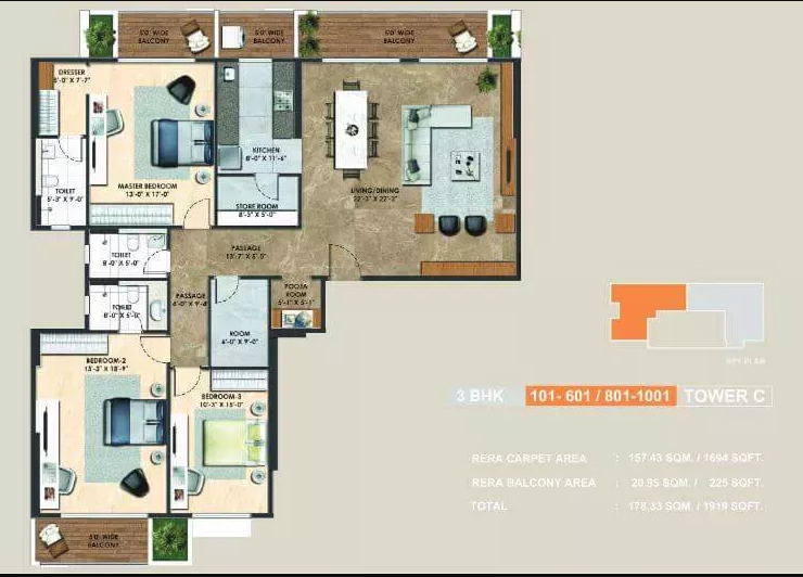 Adani-alteer-3BHK-FloorPlan
